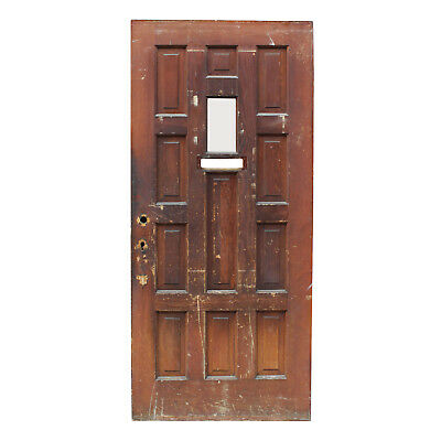 """Reclaimed 36"""" Multi Panel Stained Door with Window, NED865"""