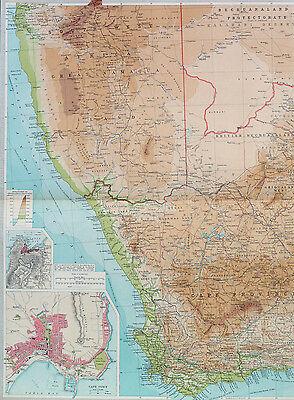 Map of Cape Province Africa Cape Town Large 1922 Original Antique