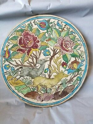 "Iznik Persian Antique 19th Century Polychrome Qajar Pottery Tile, Large 15"" Deer"