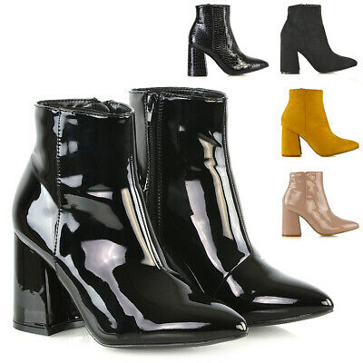 c996b7d8594 Womens Pointed Ankle Boots Block Mid High Heel Ladies Zip Up Booties Shoes  Size