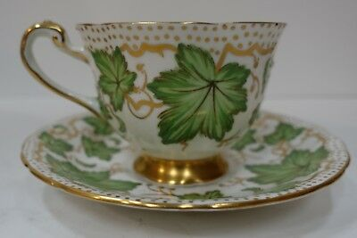 99M6 ROYAL CHELSEA CUP AND SAUCER, bone china, vintage LEAVES & GILT
