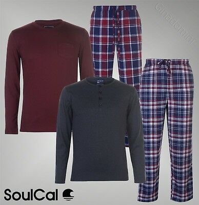 cfc4a002c3 Mens Branded SoulCal Everyday Crew Top Bottoms Jersey Check Pyjama Set S-XXL