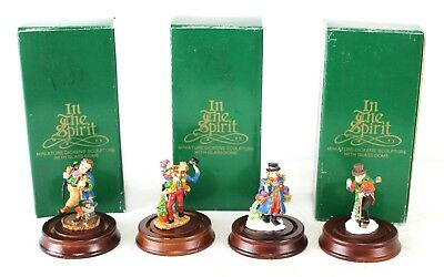 4 Dept 56 In The Spirit Pewter Painted Figurines Dickens in Boxes