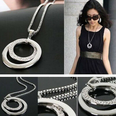 Women Fashion Crystal Rhinestone Silver Plated Pendant Long Chain Necklace Gifts