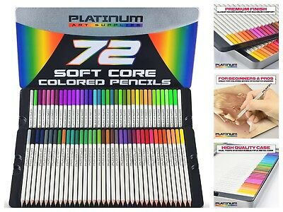 Platinum Soft Core Colored Pencils 72-Pack Drawing Coloring with Metal Case