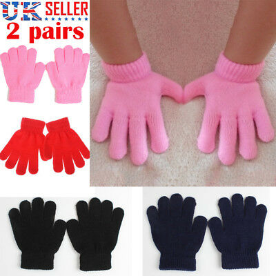 KIDS Magic Gloves 2 Pairs Winter Warm Girls Boys Stretch Black Soft Children UK