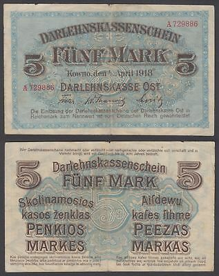 Germany 5 Mark 1918 (F) Condition Banknote Kowno P-R130