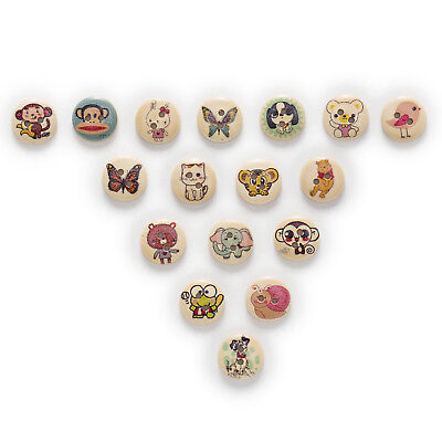 50pcs Animal 2 Hole Round Wood Buttons Home Decor Sewing Scrapbooking 15mm