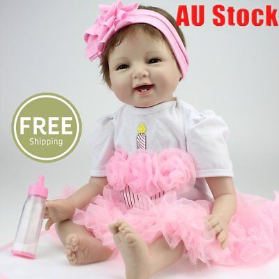 22'' Handmade Silicone Lifelike Reborn Baby Dolls Girl  With Toy And Bottle M5