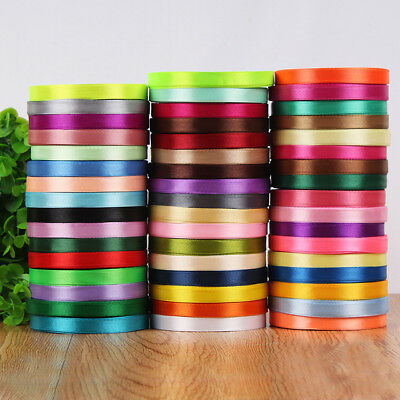 Double sided Satin Ribbon Full Reel Roll 10m,18m,25m x 6mm,12mm,25mm Craft Gift