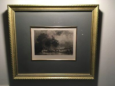 "Antique Framed and Matted Photogravure by Constant Troyon, ""Storm in Summer."""