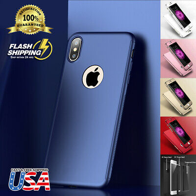 Fits Apple iPhone Ultra Thin Slim Hard Case Cover + Tempered Glass Protector