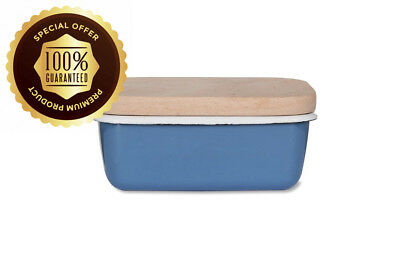Garden Trading Butter Dish with Wooden Lid in Dorset Blue-Enamel, 10 x 15.5...