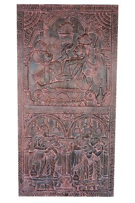 VINTAGE CARVED WOOD INDIA Erotic Art Kamasutra DOOR Panel ZEN Wall SCULPTURE 72