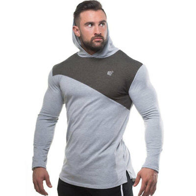 Men'S Fitness Work Out Running Gym Sporting Bodybuilding Long  Sleeves Hoodies