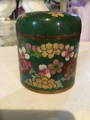 Antique Chinese Qing Republic Cloisonne Tea Caddy Tobacco Jar Floral Decoration