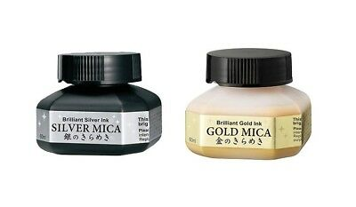 Kuretake 'MICA INK' Water-Based Pigment 60ml (Choose from Gold or Silver)