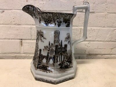 Antique Possibly Staffordshire Porcelain Gothic J. F. & Co Transfer ware Pitcher