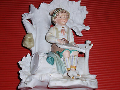 Antique German Bisque / Porcelain Vase / Figurine Boy With Lyre G Dep