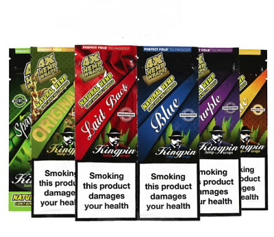 4 x Kingpin Wraps Rolling Paper Cigarette Flavoured Tip Billy Bonza Toker Mull