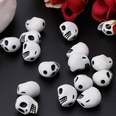 60pcs Skull Head Loose Beads For Bracelet Necklace DIY Making Charm Jewelry