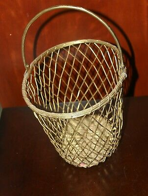 Vintage metal brass wire woven basket with handle oval bucket