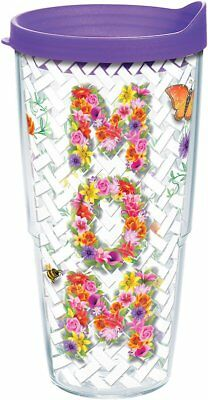 Tervis 1219216 Mom Vines Tumbler with Wrap and Purple Lid 24oz, Clear  by Tervis