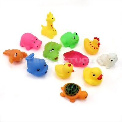 12Pcs Cute Soft Rubber Float Sqeeze Sound Baby Wash Bath Play Animals Toys