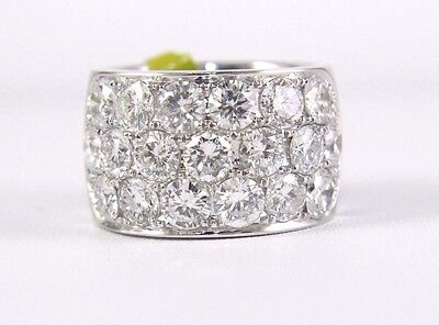 Brilliant Huge Round Diamond Cluster Wide Ring Band 14k White Gold 5.40Ct
