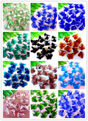 100Pcs Charming Nice Crystal Glass Butterfly Pendant Bead 15*12*7mm DD3956