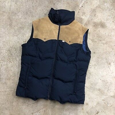 80s Levi's Ski Goose Down Yoked Puffy Winter Vest Made In USA VTG Size L