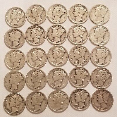 Mercury Dimes,90% Silver (25) mixed dates, Lot 1917-1942