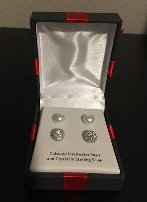 Pair Of Small Pearls & Pair Of Crystal Round Stud Earrings In Sterling Silver