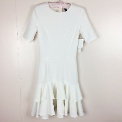 586b9c18d5 Design Lab Lord & Taylor Fit and Flare Tiered Ruffle Dress Size M Ivory NWT
