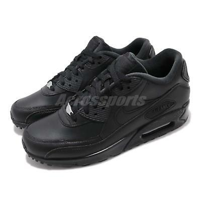 3ea13a17263b Nike Air Max 90 Leather Black Men Running Casual Shoes Sneakers 302519-001