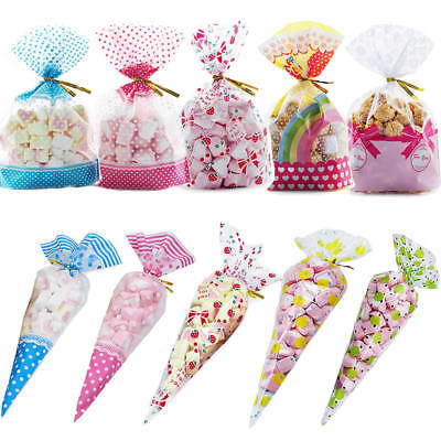 50 Clear Cellophane Cone Bags Party Favours Cello Bag Candy Gift Sweet + Ties