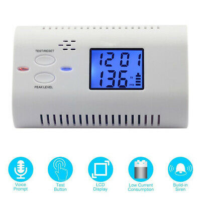 LCD Smart Voice Carbon Monoxide CO Alarm Sensor Detector Smoke Warning Monitor