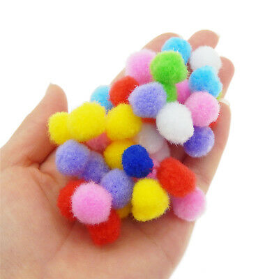 Kids DIY Handcraft Soft Round Pompom Balls Fluffy Pom Poms 10mm 15mm