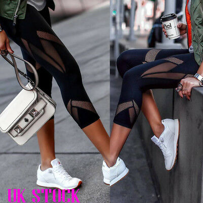 Women Fitness Yoga Leggings Cropped Trousers Running Gym Sport High Waist Pants