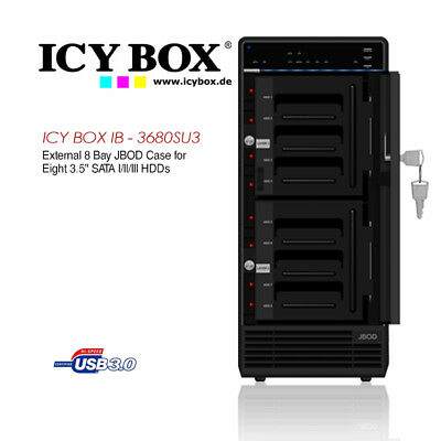 ICY BOX External 8 Bay JBOD Case for 8 x 3.5 Inch SATA l/ll/lll HDDs