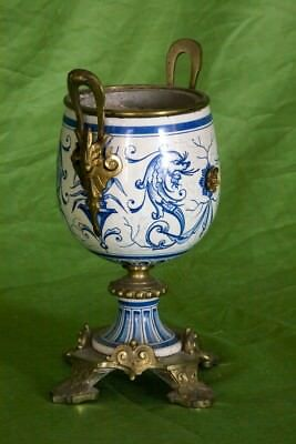 Superb Louis XVI Style French Hand-Painted Porcelain & Brass Urn Circa 1800-1849