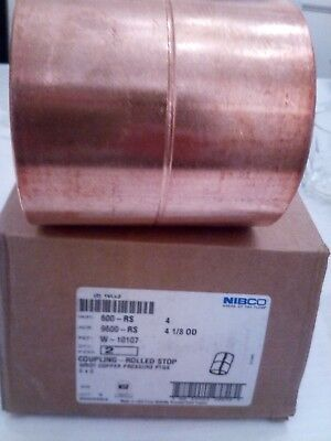 Nibco Coupling, Rolled Tube Stop,Wrot Copper 600RS  Size 4 Fitting CXC #W-10107