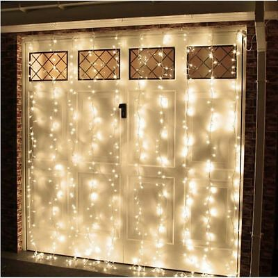 Warm White LED Fairy Curtain String Light Hanging Lights Wedding Party Xmas
