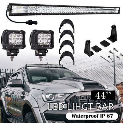 "TRI Row LED Light Bar 42Inch 3360W Flood Spot Combo LED Driving Light 40""44""46"