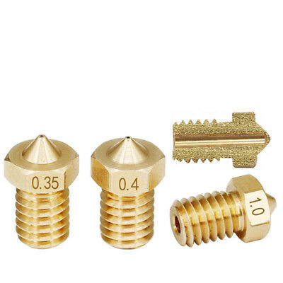 3D Printer 0.2/0.3/0.4/-1.2mm Extruder Brass Nozzle M6 Thread- 1.75/3mm For E3D