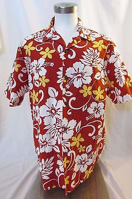 Vintage RJC Hawaiian Shirt  Men's XL Short Sleeve Red Floral