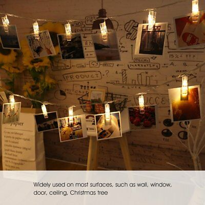 40 Photo Window Hanging Peg Clips LED String Lights Home Party Fairy Decor