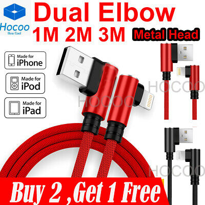 For i Phone 6 7 8 Plus X Braided 90 Degree Lightning Cable USB Data Charger Cord