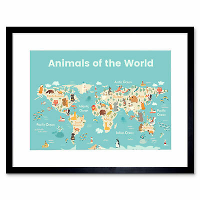 Animals Of The World Map Art Print Framed Poster Wall Decor