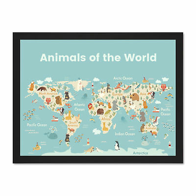 Animals Of The World Map Large Framed Art Print Wall Poster